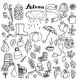 autumn doodle set vector image vector image