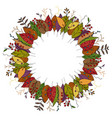 autumn wreath made of doodle leaves vector image