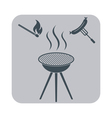 Barbecue sausage icon on white background vector image