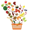 basket with an abundance of supermarket products vector image