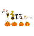 big set collection of cartoon halloween objects vector image vector image