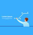 businessman point fall chart arrow down business vector image