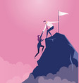 businessman pulls partner to the top of mountain vector image vector image