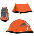 Camping tent and backpack vector image vector image