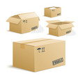 cardboard box set on transparent background vector image vector image