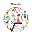Children With Mathematics Objects And Icons vector image vector image