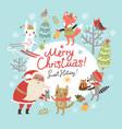 christmas card with santa and animals