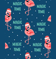 christmas seamless pattern with flamingo vector image