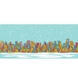 City skyline panorama winter snowing hand drawn vector image