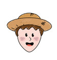 cute man face with hat vector image vector image