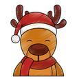 cute reindeer with santa claus hat vector image vector image