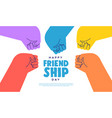friendship day web template color fist bump hands vector image vector image