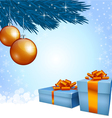 Gift boxes and Christmas decoration vector image vector image