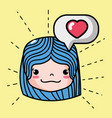 girl head with face emoticon and chat bubble vector image