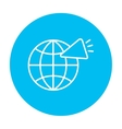 Globe with loudspeaker line icon vector image