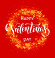 happy valentine day golden hearts greeting card vector image vector image