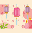 japanese lanterns flowers and candles decoration vector image