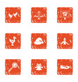 kindergarten playground icons set grunge style vector image vector image