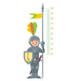 knight boy meter wall or height chart vector image vector image