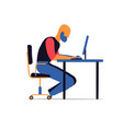 man work hard at your laptop on the desk vector image