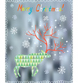 Merry Christmas card with ornate deer and snow vector image vector image