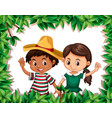 mexican couple on nature frame vector image vector image