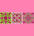 mexican talavera ceramic tile pattern with flowers vector image