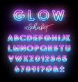 neon light alphabet multicolor glowing typeface vector image vector image