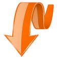 orange 3d down arrow vector image vector image