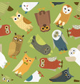 owls cartoon cute bird set owlet character vector image vector image