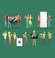 people choosing and buying home appliances set vector image vector image