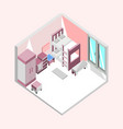 pink bedroom isometric home interior design vector image vector image