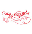 red merry christmas vintage calligraphy lettering vector image vector image