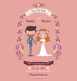 Rustic bohemian cartoon couple wedding card vector image vector image