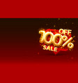 sale 100 off ballon number on red background vector image vector image