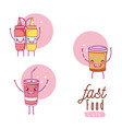 sauces bottles and drinks cute cartoons vector image
