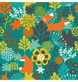 Seamless pattern with fox in the flowers of the