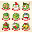 Set of Christmas cartoon stickers vector image