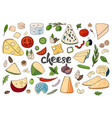 set of hand drawn different types of cheeses on vector image