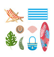 set tanning chair with towel and leaves plants vector image vector image