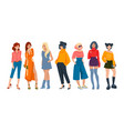 stylish women cartoon fashion characters wearing vector image vector image