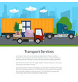 trucks drive on the road poster vector image vector image