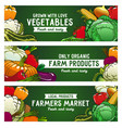 vegetables banners farm food raw veggies vector image vector image