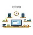 workplace white background in a flat style vector image vector image