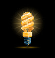 yellow 3d low poly fluorescent light bulb model vector image vector image
