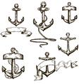 set of hand drawn anchors and ribbons vector image