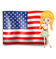 A pretty blonde and the USA flag vector image vector image