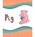 Alphabet letter P and pig vector image vector image