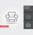 armchair line icon with editable stroke with vector image