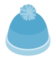 Blue knitted haticon isometric 3d style vector image vector image